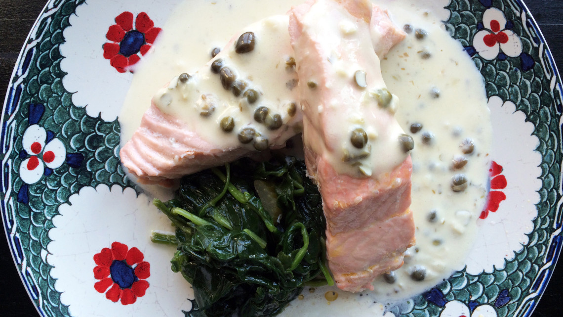Poached Salmon with Creamy Caper Sauce and Sauteed Spinach